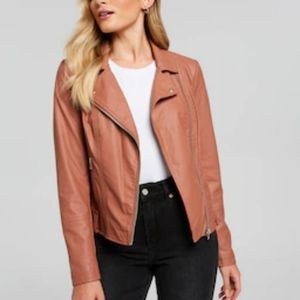 Vegan Leather Jacket in Rust Forever 21